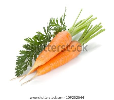 Fresh ripe carrots. Isolated on white background - stock photo