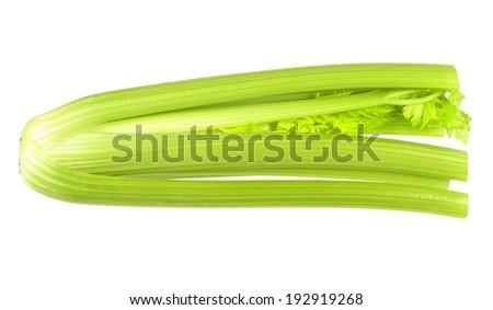 Fresh ripe celery. Isolated on white background. - stock photo