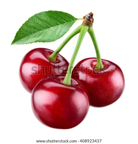 Fresh ripe cherry with leaf isolated on white.