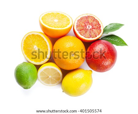 Fresh ripe citruses. Lemons, limes and oranges. Isolated on white background. Top view - stock photo