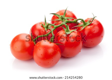 Fresh ripe clean tomatoes with water drops. Isolated on white background - stock photo