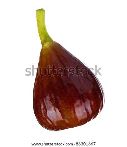 Fresh ripe fig isolated on a white background - stock photo