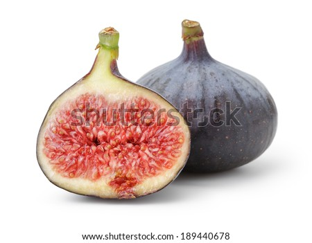 fresh ripe figs, isolated on white background - stock photo