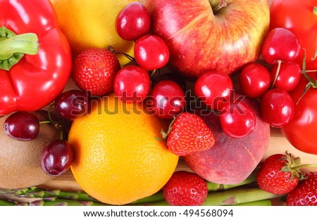 Fresh ripe fruits and vegetables, concept of healthy food, nutrition and strengthening immunity