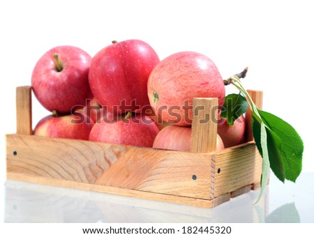 fresh ripe gala apple in crate on white