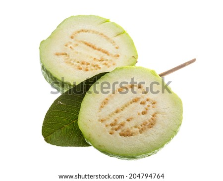 Fresh ripe green guava isolated
