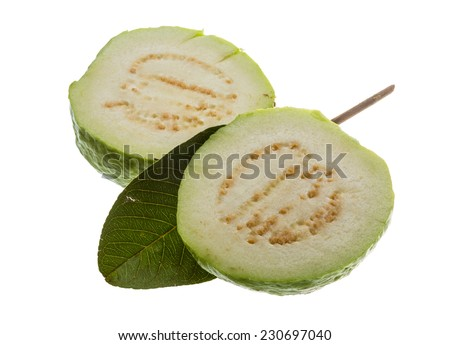 Fresh ripe green guava isolated - stock photo