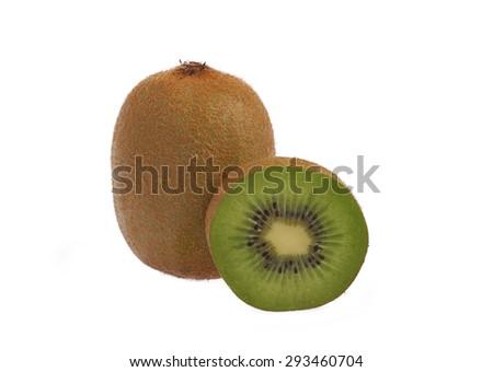 Fresh ripe green Kiwi fruit and a half isolated on white no shadow - stock photo