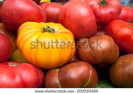 Fresh, Ripe, Healthy, Heirloom Tomatoes - stock photo