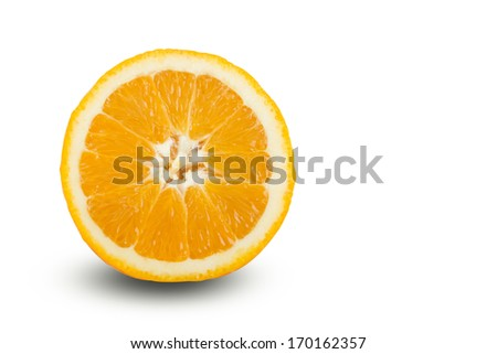 Fresh ripe, juicy, delicious water sprinkled sliced oranges, isolated on white background.
