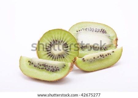 Fresh ripe Kiwi Fruit isolated against white background.