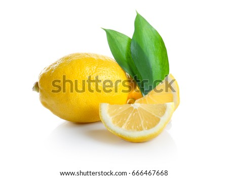 Fresh ripe lemon and slices on white background
