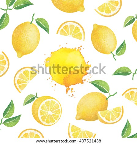 Fresh ripe lemons with leaves. Yellow stains Abstract paint splashes. Different styles of lemons on white background. - stock photo