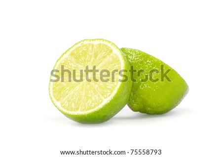 Fresh ripe lime isolated on white background - stock photo