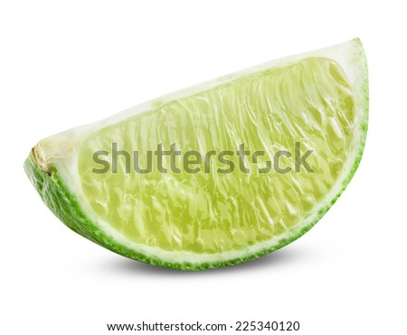 Fresh ripe lime. Isolated on white background. Clipping path - stock photo