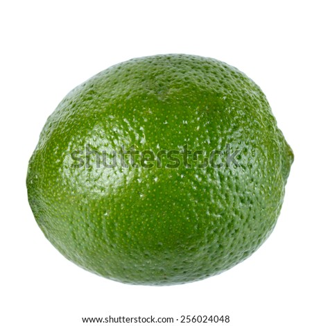 Fresh ripe lime on white background. Isolated. - stock photo