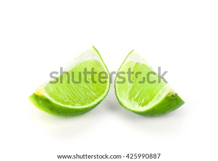 Fresh ripe lime on white background. Tropical fruit