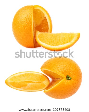 Fresh ripe orange cut in slices isolated over the white background, set of different foreshortenings