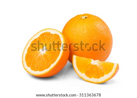Fresh Ripe Orange fruit half slice isolated on white background - stock photo