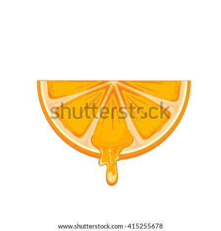Fresh ripe orange slice isolated on white background, illustration. - stock photo