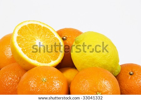 Fresh ripe oranges with space for text