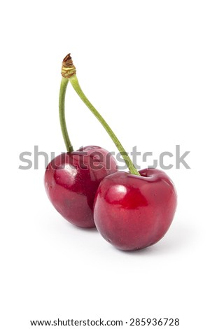 Fresh ripe organic cherries isolated on a white background