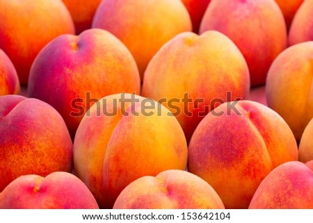 Fresh, ripe peaches in the market - stock photo