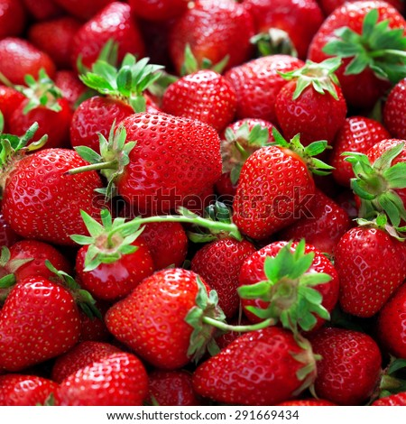Fresh ripe strawberries background, selective focus - stock photo