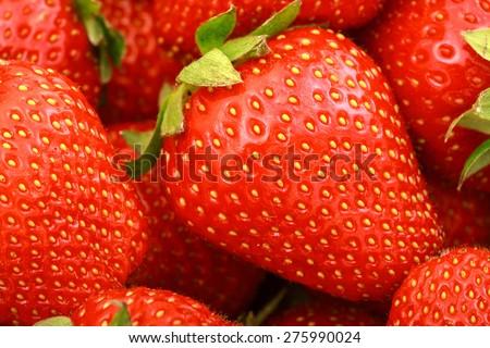 Fresh ripe strawberries full frame background - stock photo