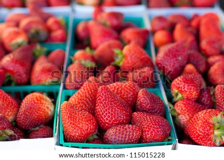 Fresh Ripe Strawberries in Baskets - stock photo
