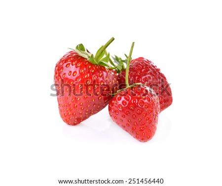 Fresh ripe strawberries on white background - stock photo