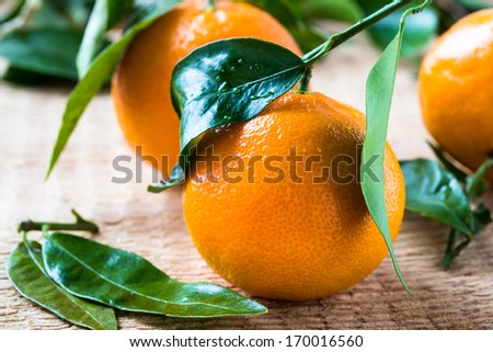 Fresh ripe tangerines   clementines with leaves on wooden background - stock photo