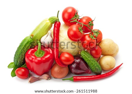 fresh, ripe vegetables isolated on white background - stock photo