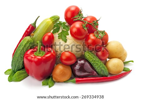 fresh, ripe vegetables isolated on white background - stock photo
