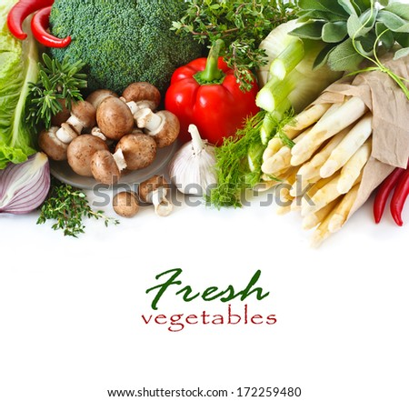Fresh ripe vegetables on a white background. - stock photo