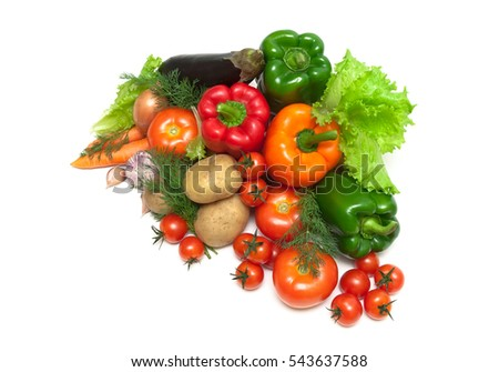 fresh ripe vegetables on white background. top view - horizontal photo.