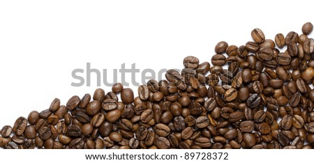 Fresh roasted coffee beans on white background