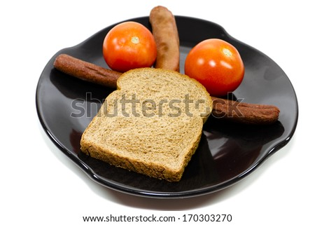 Fresh Roasted Hot Dogs with Toast Bread  and Tomato