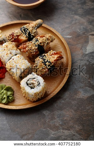 fresh rolls and sushi close-up, asian food - stock photo