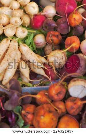 Fresh root vegetables display at the local market