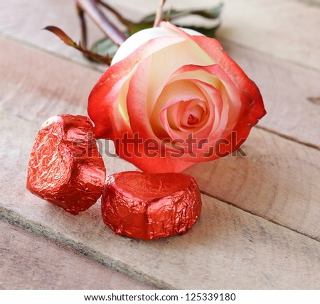 fresh rose and chocolate heart, gift  for  Valentines Day - stock photo