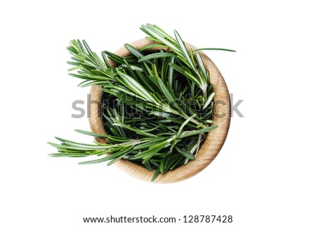 Fresh rosemary bunch in the bowl isolated shot