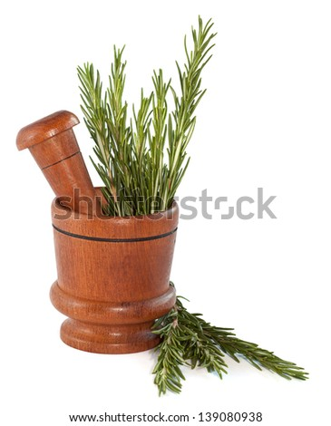 Fresh rosemary herb in wooden mortar with pestle isolated on white background