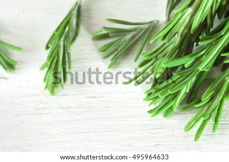 Fresh rosemary twigs on white wooden background. Fresh rosemary. Photo of rosemary. Rosemary twigs. Rosemary on the white table. Green rosemary. Rosemary close-up. Beam of rosemary. Heap of rosemary.