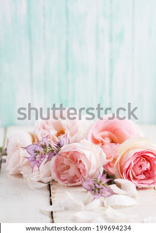 Fresh roses on  wooden background. Place for text. - stock photo