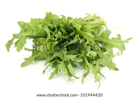 Fresh Rucola Salad Or Rocket Lettuce Leaves Isolated On White