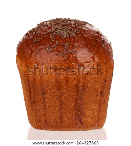 Fresh rye bread isolated on white background
