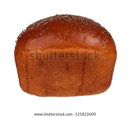 Fresh rye bread with caraway seeds isolated on white background