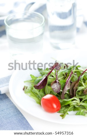 Fresh salad and water