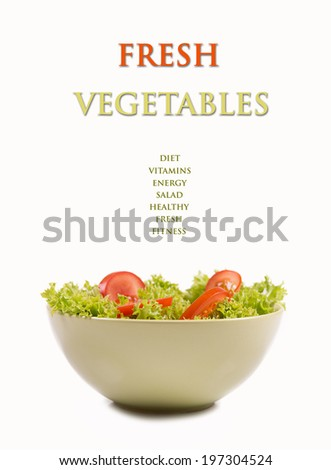 Fresh salad in a bowl. Isolated picture.